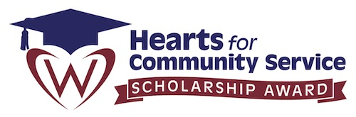Hearts for Community Service logo links to Hearts for Community Service program page