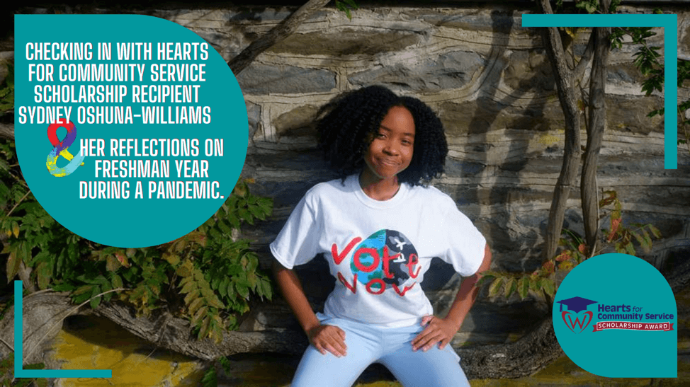 Checking in with Hearts for Community Service Scholarship Recipient Oshuna-Williams